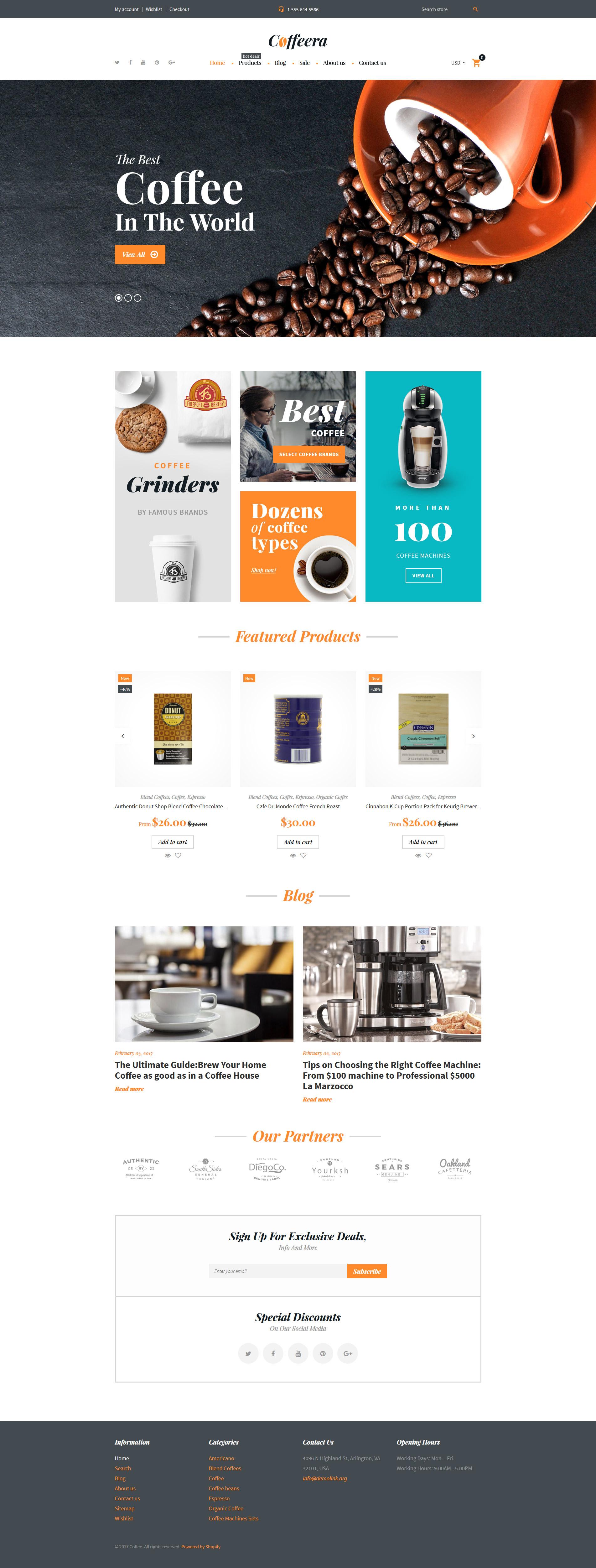 Modello Shopify Responsive #62324 per Un Sito di Caffetteria