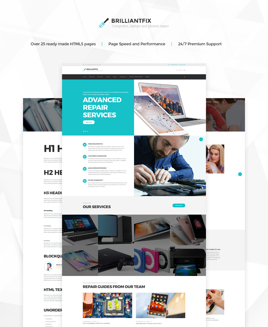 "Modello Siti Web Responsive #62300 ""BrilliantFix - Service Center"" - screenshot"