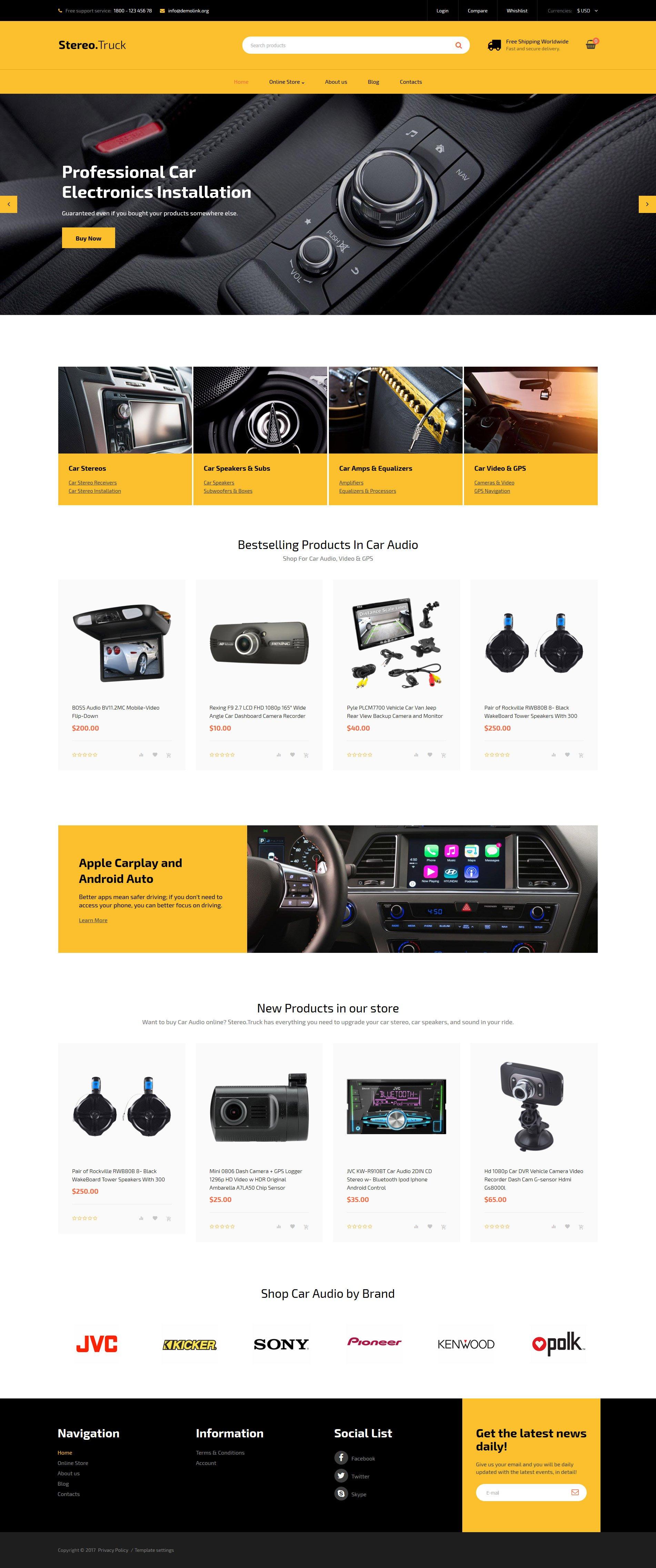 Plantilla VirtueMart #62375 para Sitio de Audio para coches
