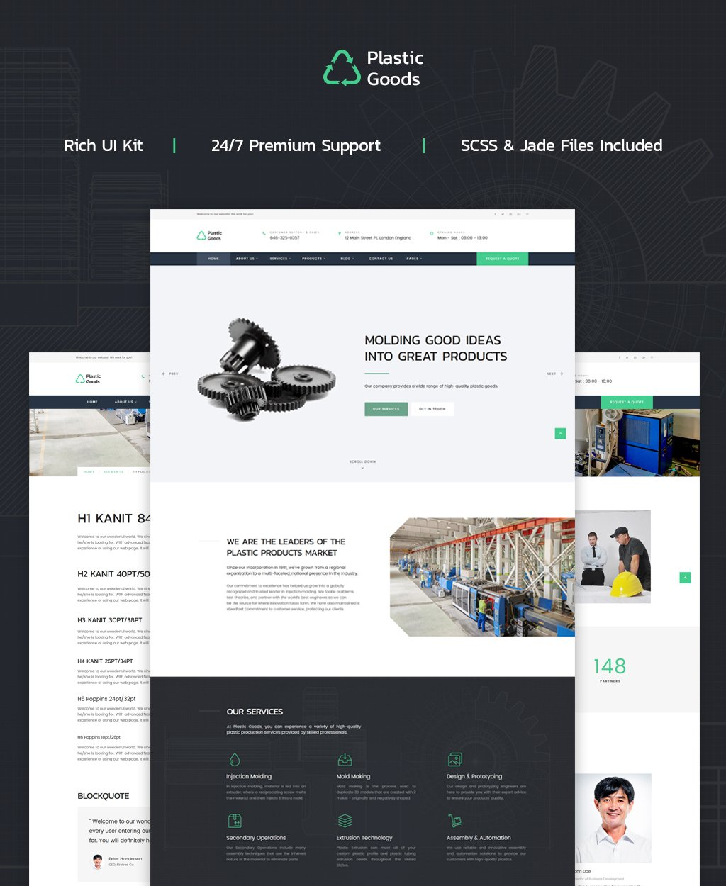 """""""Plastic Goods - Business Multipage"""" 响应式网页模板 #62319 - 截图"""