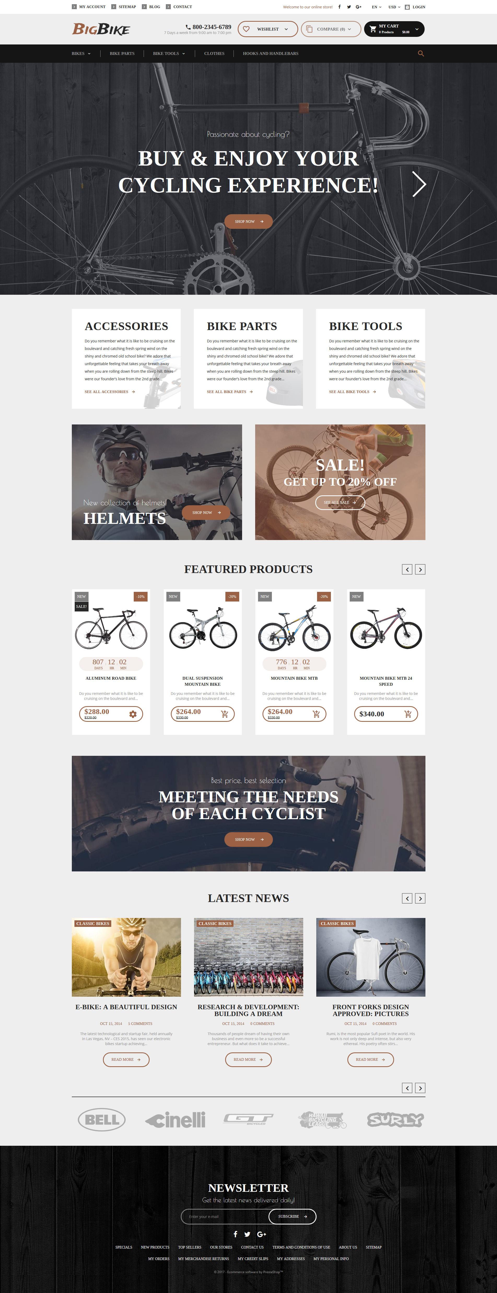 "PrestaShop Theme namens ""BigBike - Fahrradshop"" #62331"