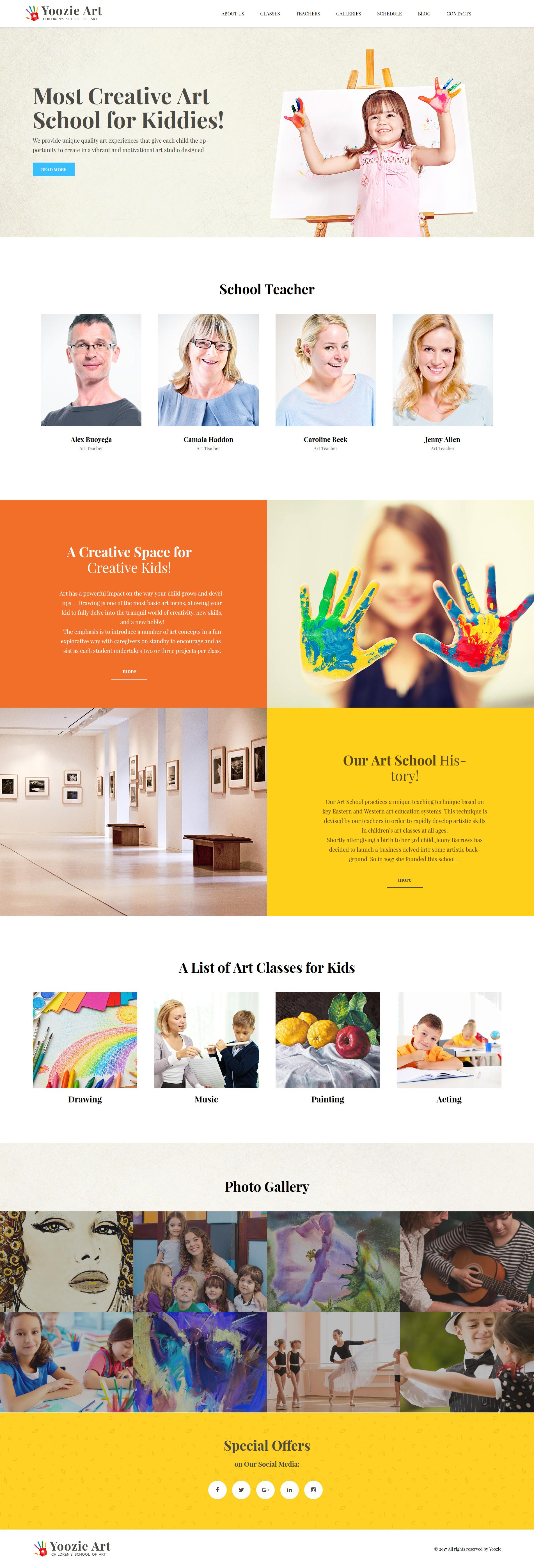 Responsive Yoozie - Children Art School WordPress Theme #62385
