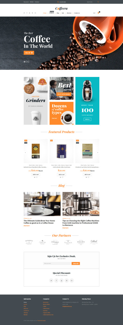 Responsives Shopify Theme für Kaffeeshop