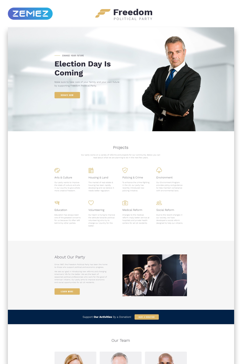 Responsivt Freedom Political Party Multipage HTML Hemsidemall #62320