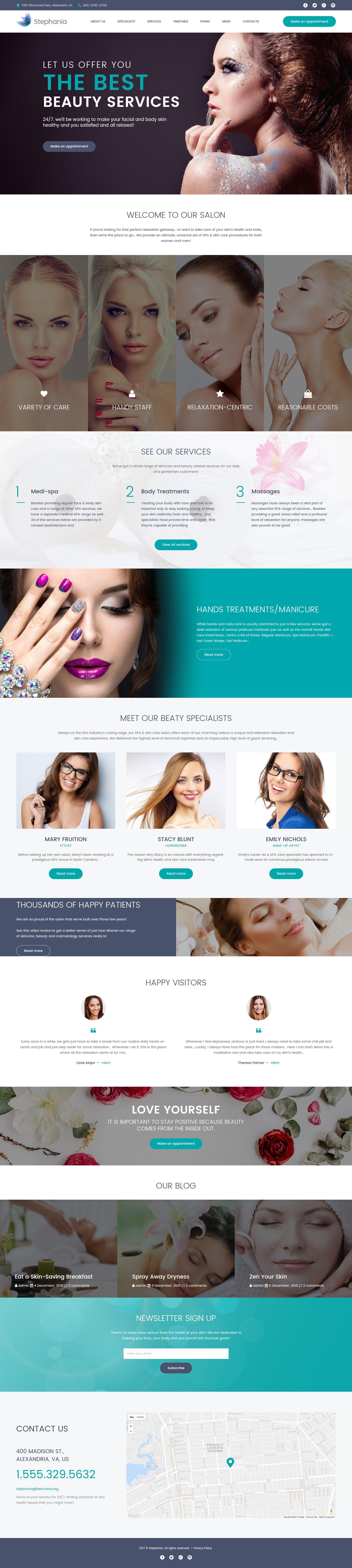 Responsivt Stephania - Beauty Salon & Skin Care WordPress-tema #62366 - skärmbild