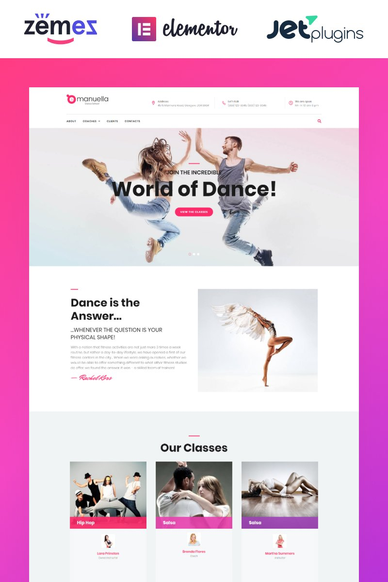 Responsywny motyw WordPress Emanuella - Dance School Responsive #62312