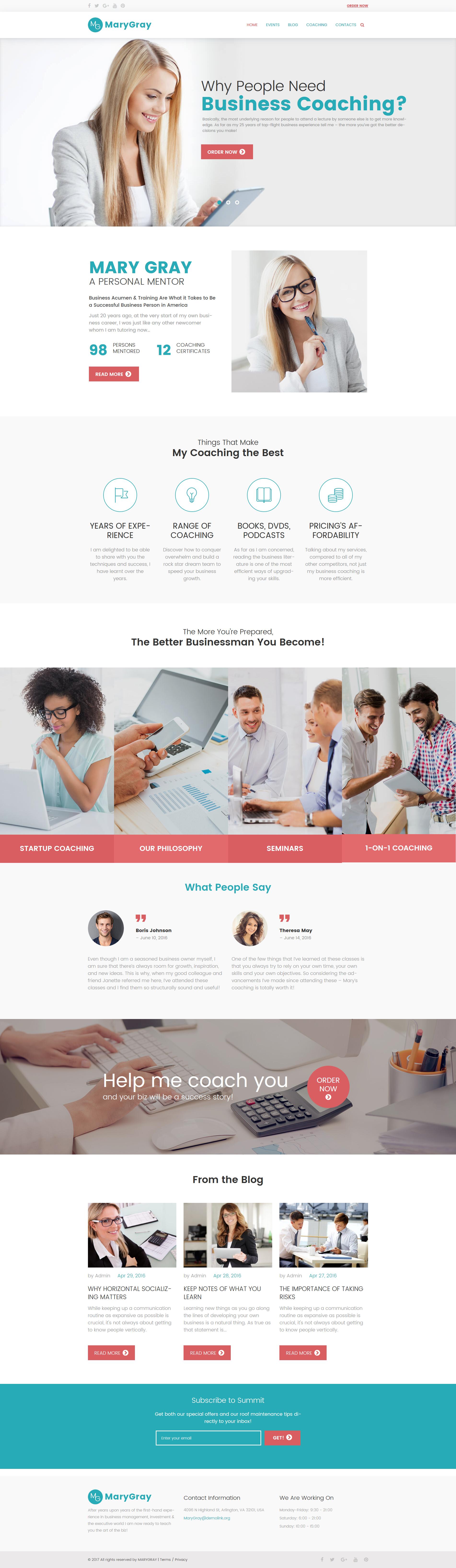 Responsywny motyw WordPress Personal Business Coaching #62349 - zrzut ekranu