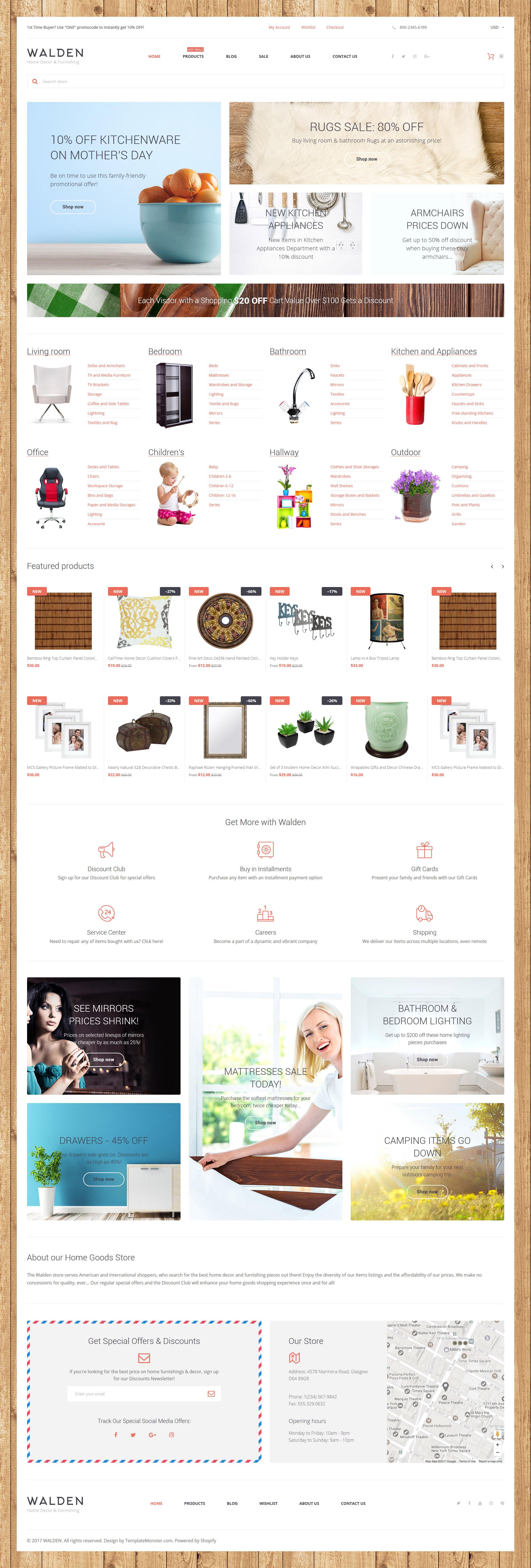 "Responzivní Shopify motiv ""Home Decor & Furnishing Online Supermarket"" #62325"