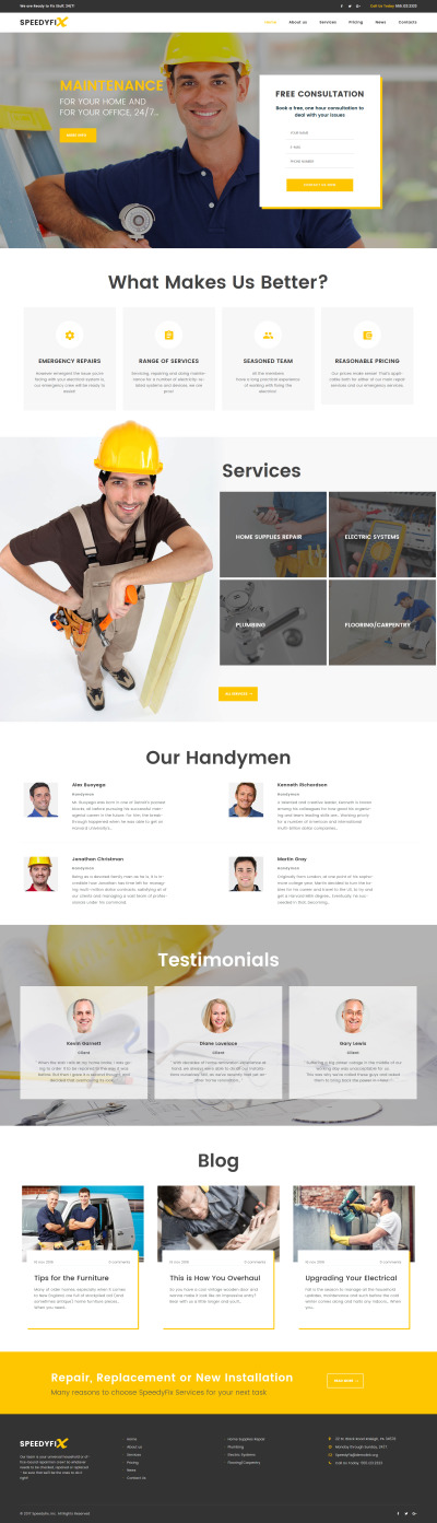 Home Repairs Responsive WordPress Motiv