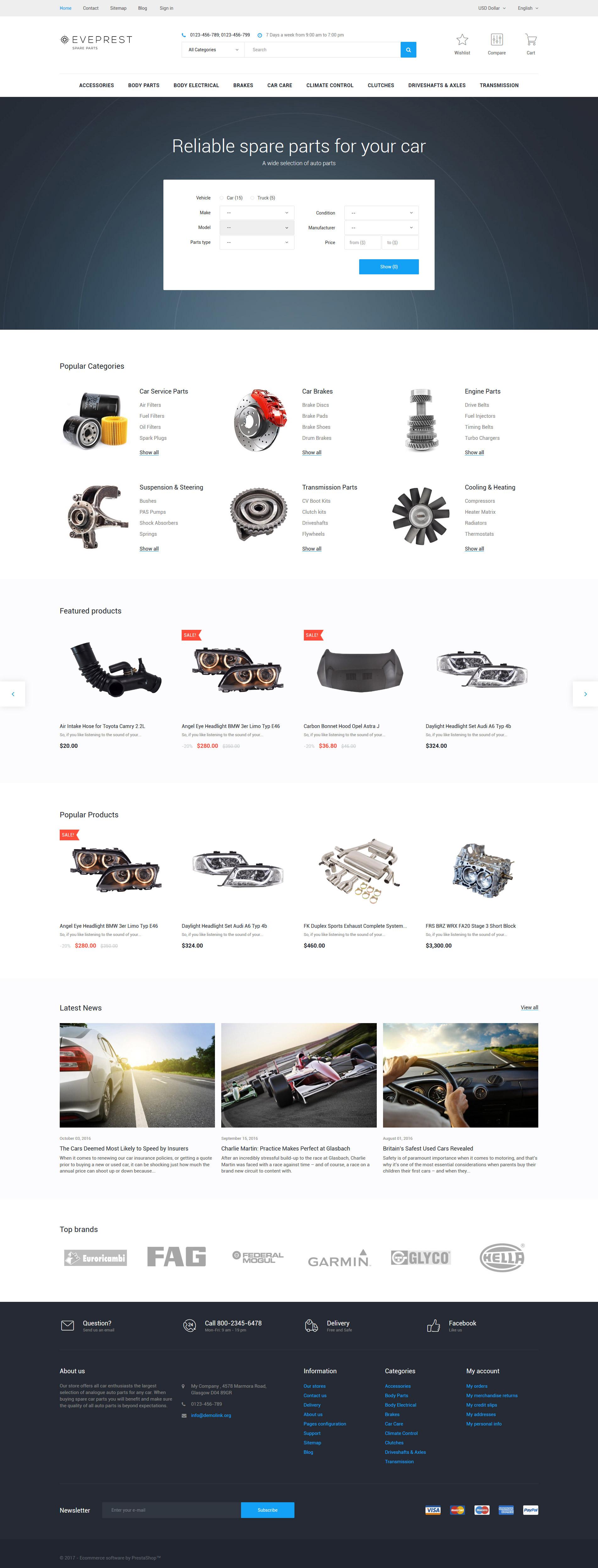 Reszponzív Eveprest - Spare Parts PrestaShop sablon 62342