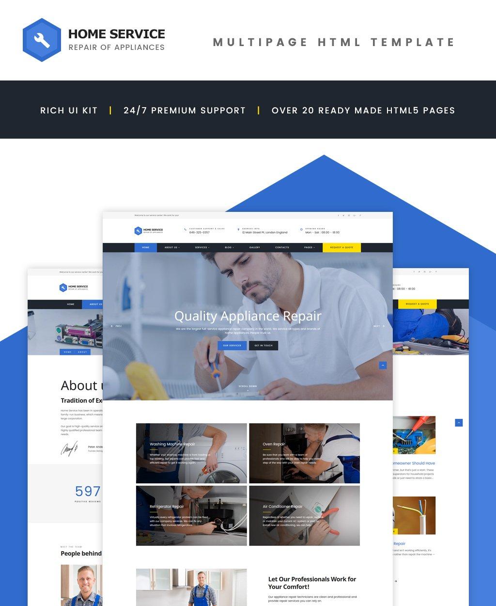 Reszponzív Home Appliance Repair Service Multipage Weboldal sablon 62321