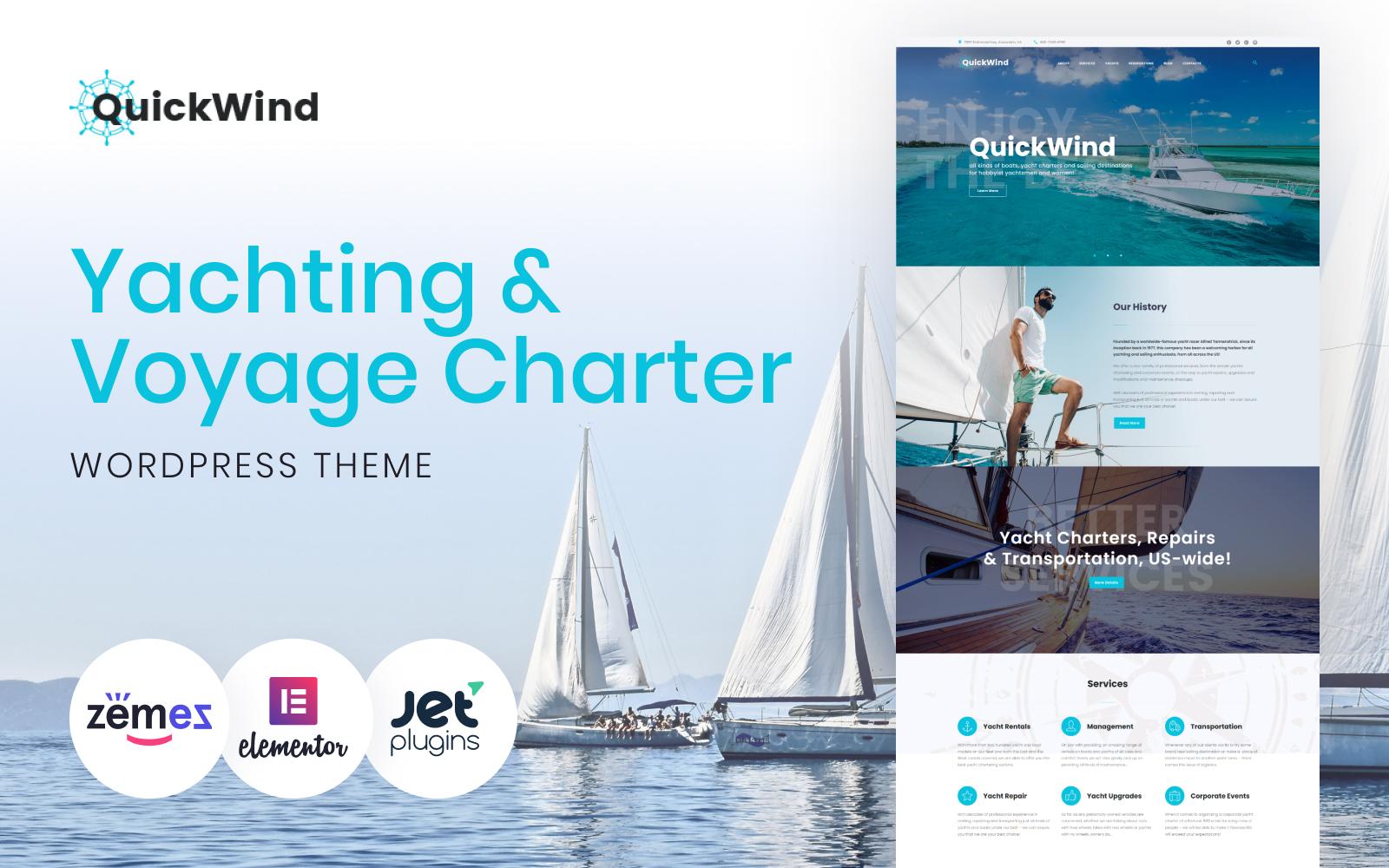 Reszponzív Yachting & Voyage Charter WordPress Theme - QuickWind WordPress sablon 62365