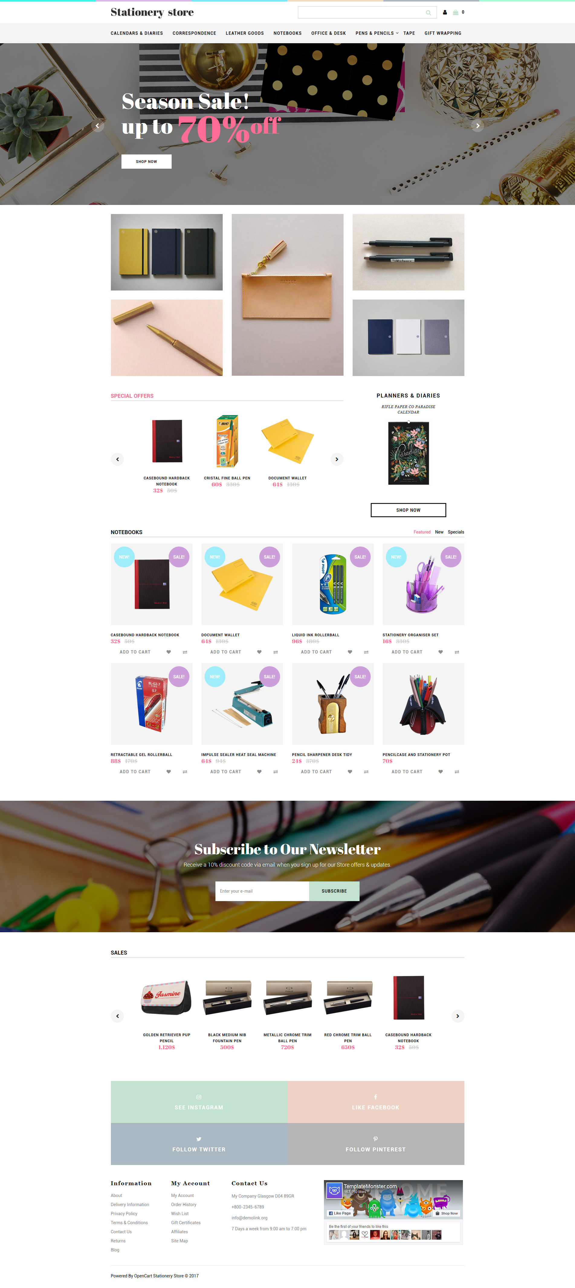 """""""Stationery Store - Stationery Responsive"""" Responsive OpenCart Template №62308"""