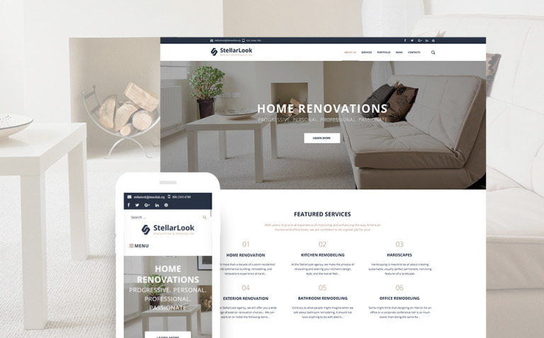 StellarLook - Renovation & Interior Design WordPress Theme New Screenshots BIG