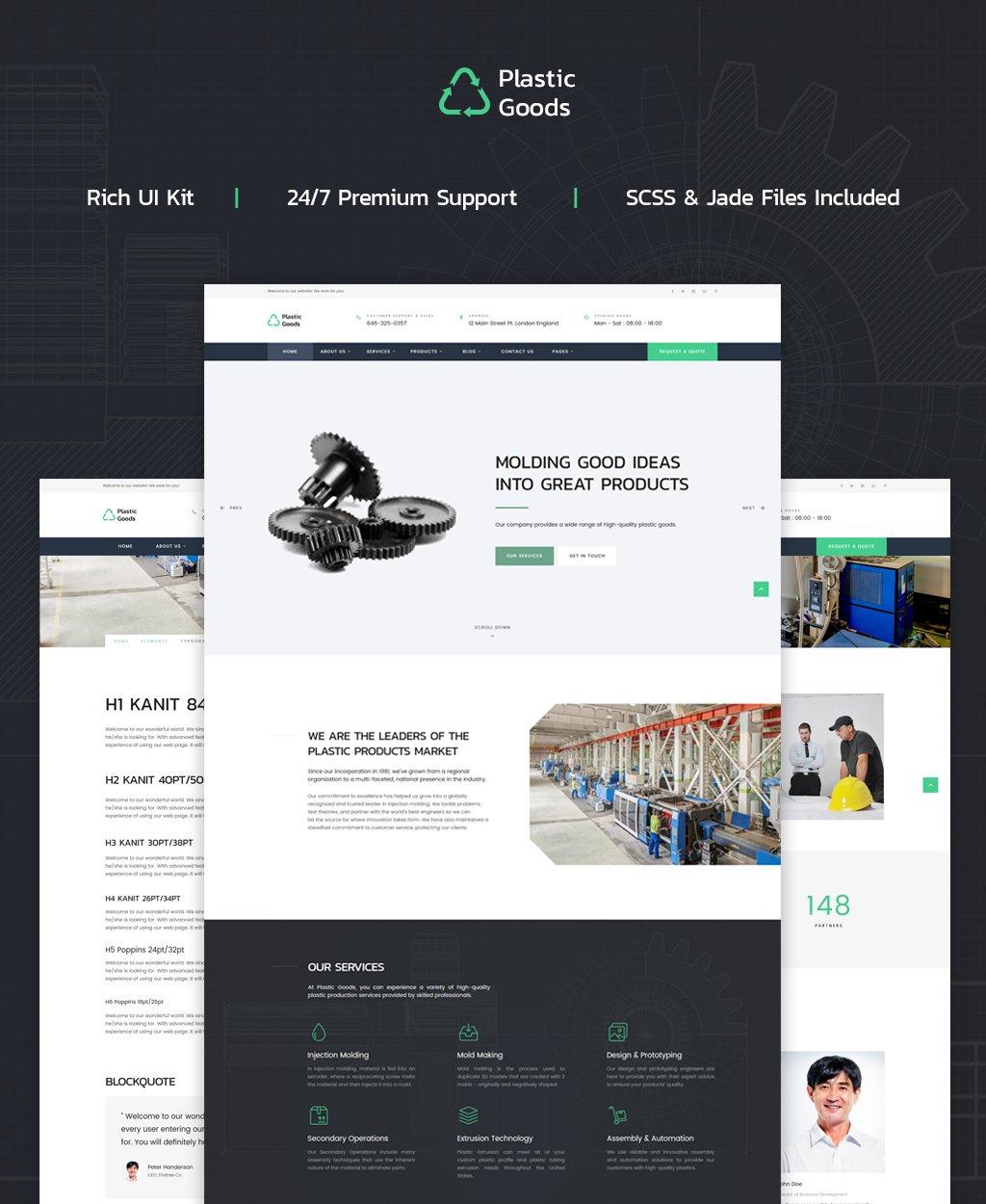 "Tema Siti Web Responsive #62319 ""Plastic Goods - Business Multipage"" - screenshot"