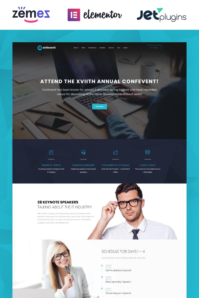 "Tema WordPress Responsive #62307 ""Confevent - Event Landing Page"""