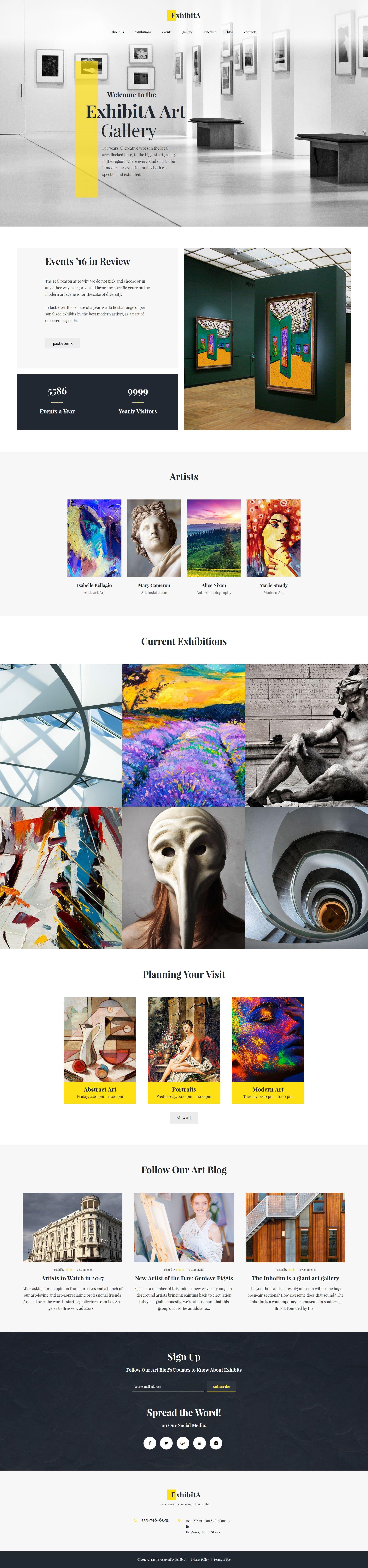 "Tema WordPress Responsive #62373 ""ExhibitA - Art Gallery Responsive"" - screenshot"