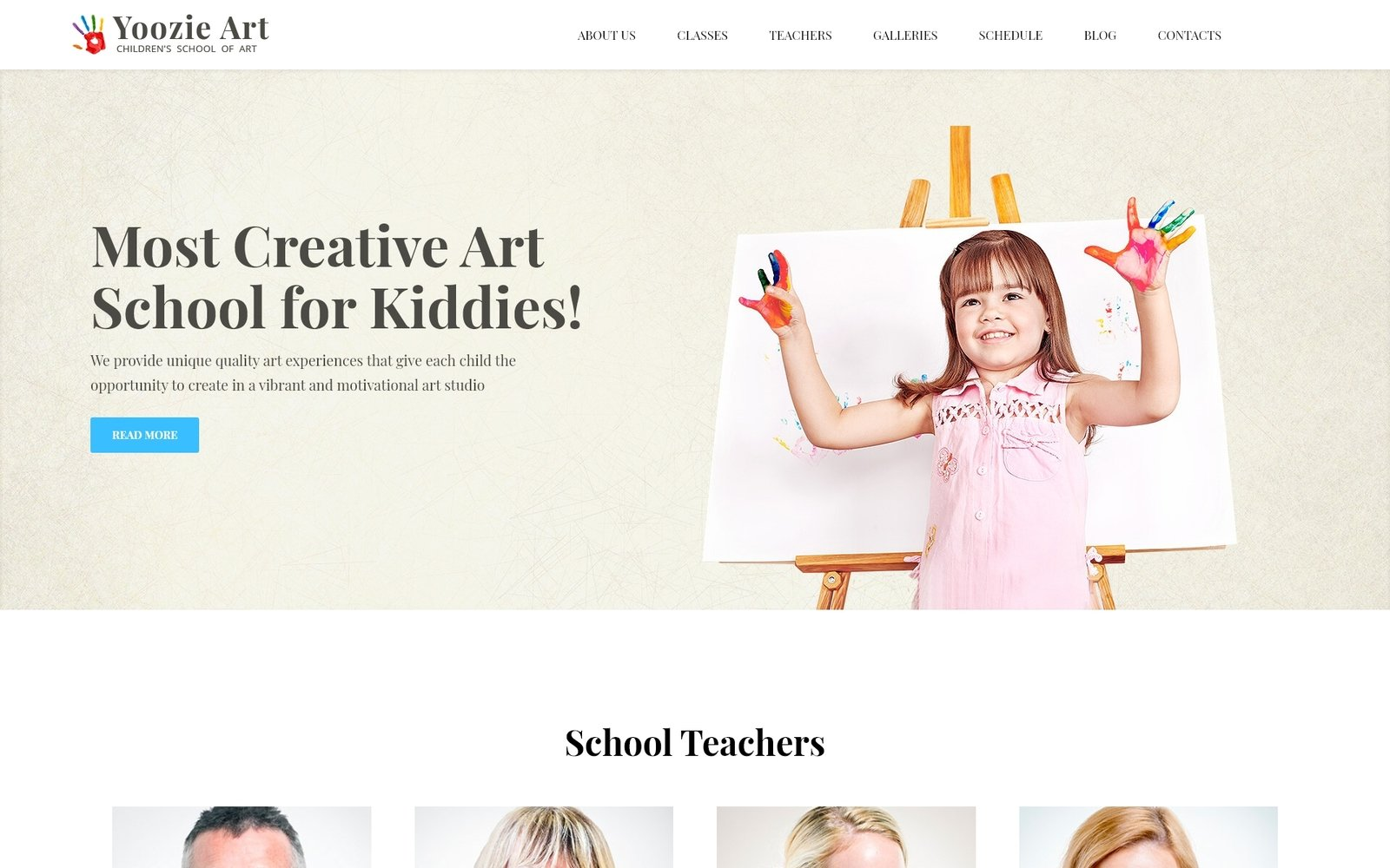 "Tema WordPress Responsive #62385 ""Yoozie - Children Art School WordPress Theme"""