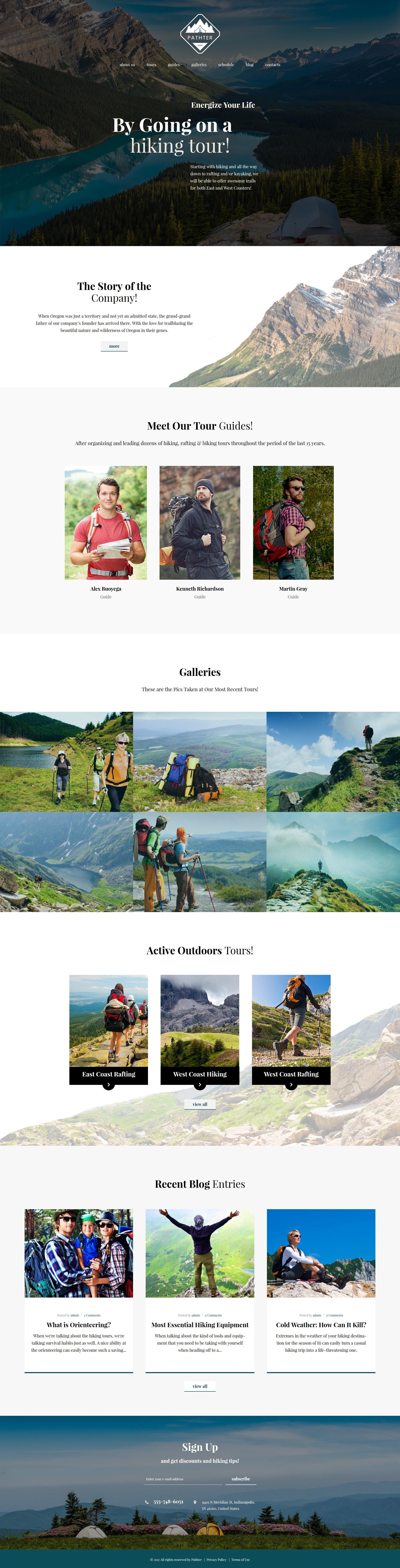 "Tema WordPress Responsive #62388 ""Hiking & Camping Tours"" - screenshot"