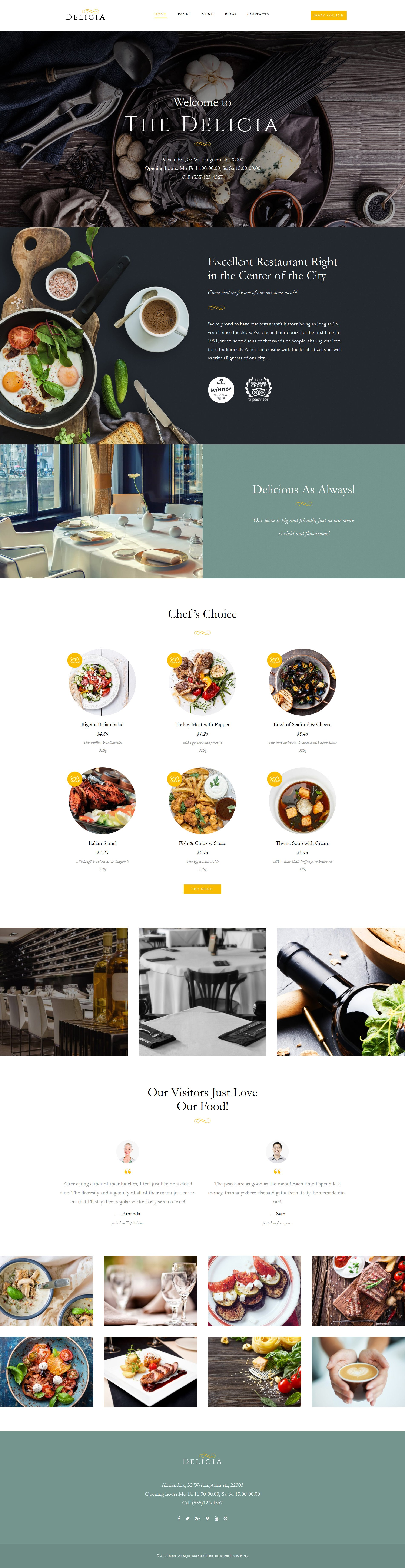"Template WordPress Responsive #62386 ""Delicia - Restaurant Responsive"" - screenshot"