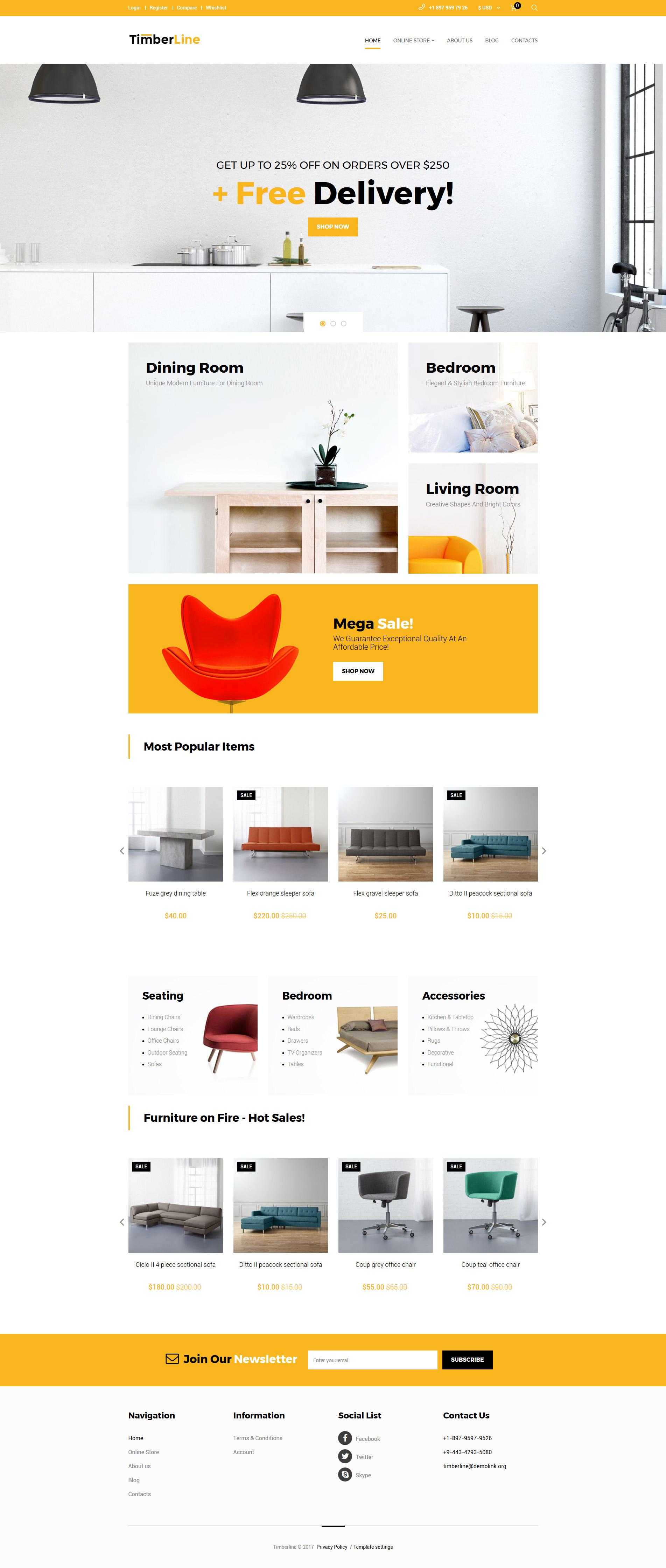 VirtueMart шаблон №62306 на тему мебель