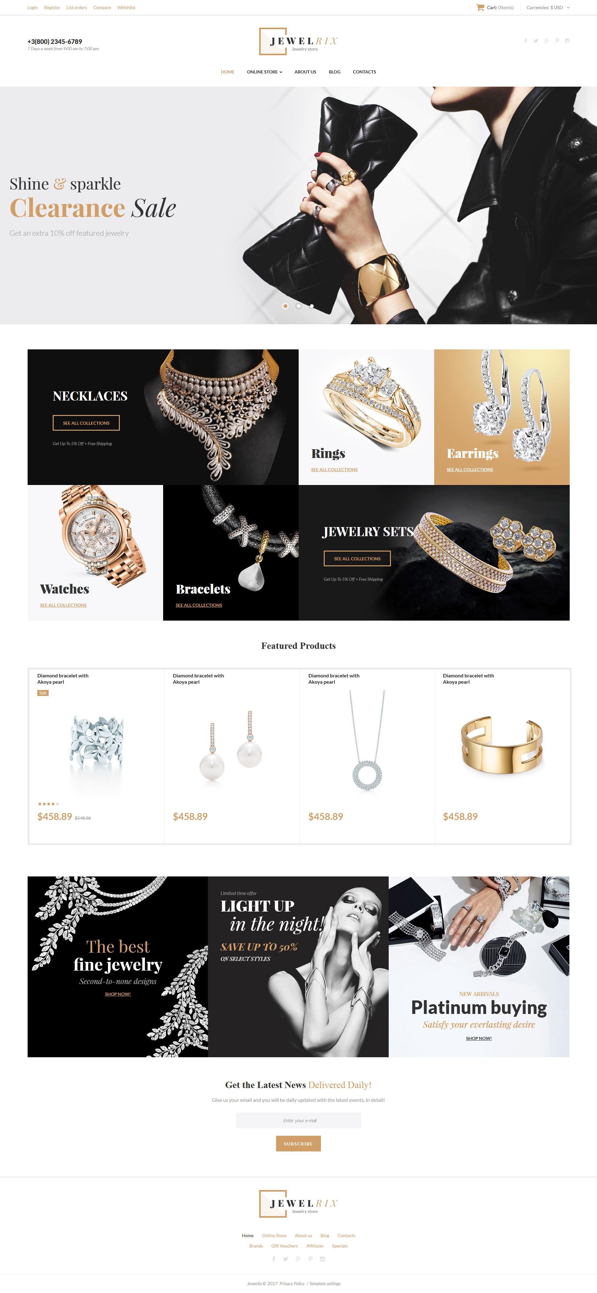 """VirtueMart šablona """"Jewelrix - Jewelry Collection"""" #62374"""