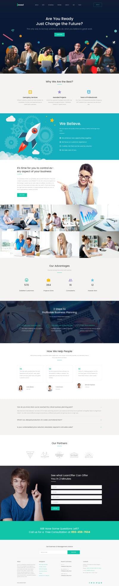 "WordPress шаблон ""Innovi для сайта стартапа"" #62355"