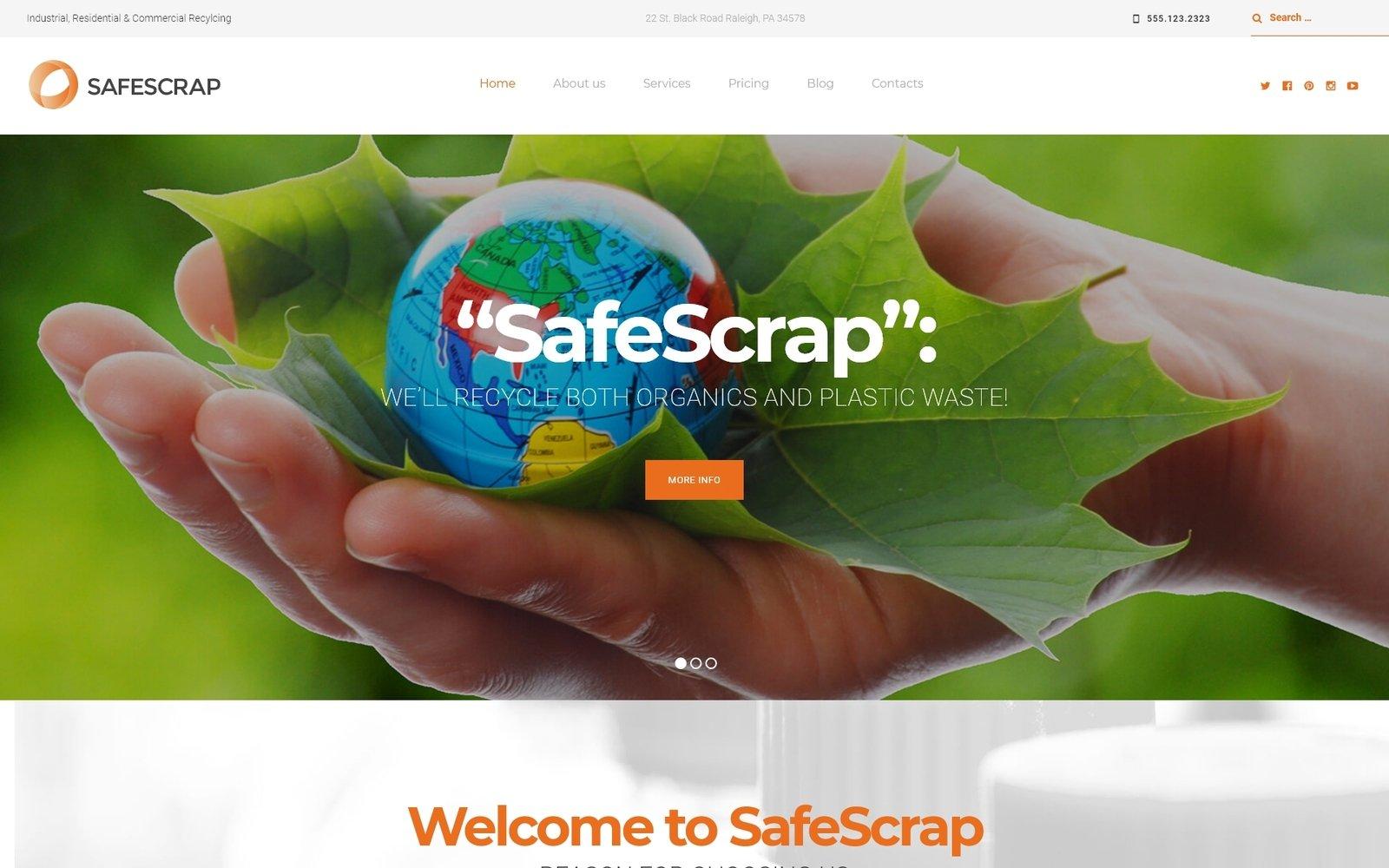 Шаблон SafeScrap сайта на тему окружающая среда #62328