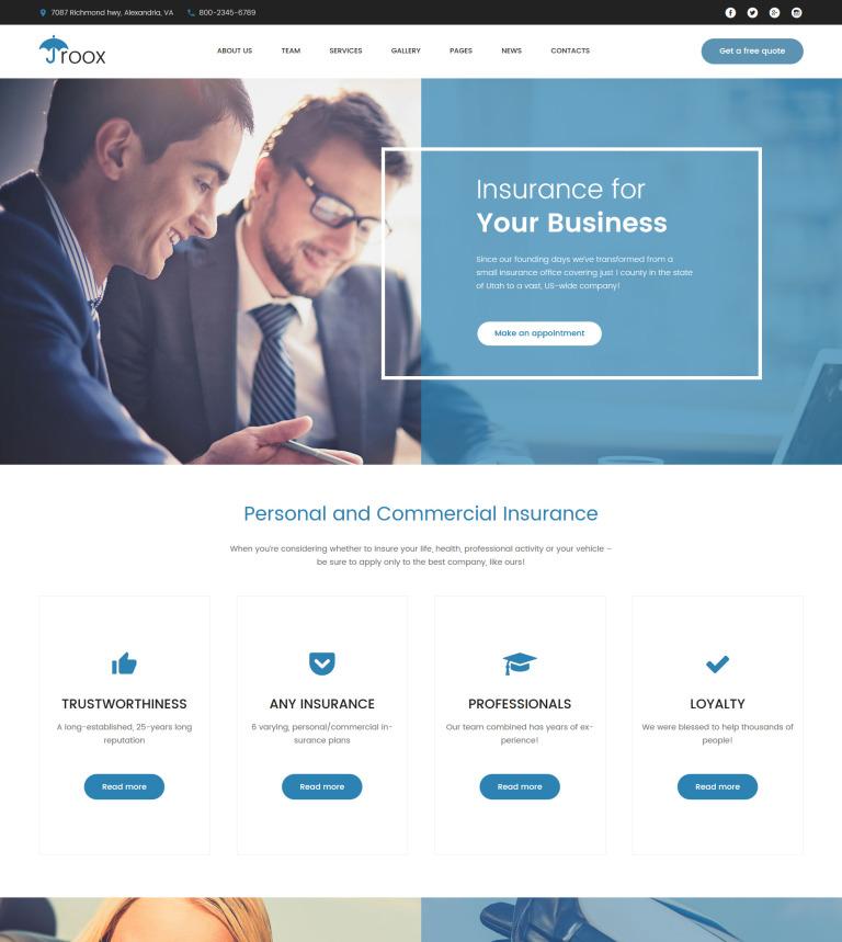 WordPress Theme #62379 für Versicherung Homepage