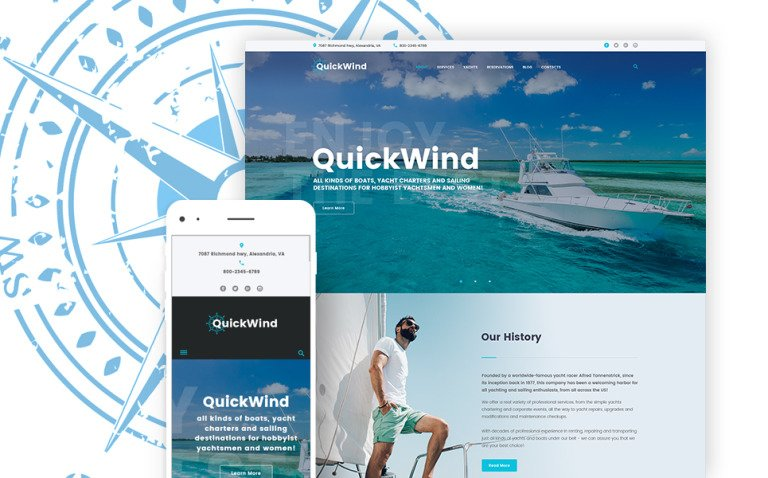Yachting & Voyage Charter WordPress Theme New Screenshots BIG