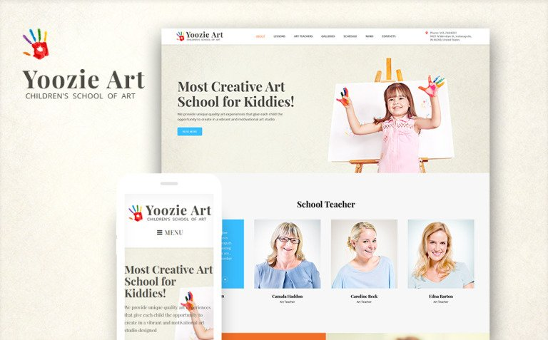 Yoozie - Children Art School WordPress Theme New Screenshots BIG