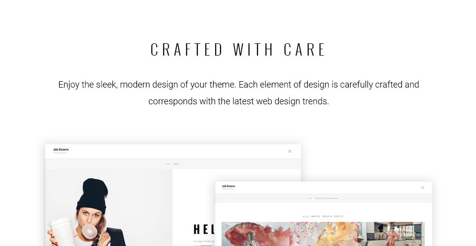 Julie Bernerro - Photographer Portfolio Responsive WordPress Theme