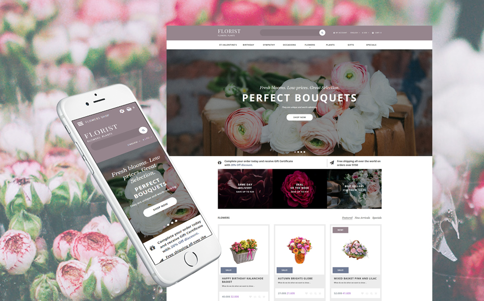 Plantilla para opencart - Categoría: Flores - versión para Desktop