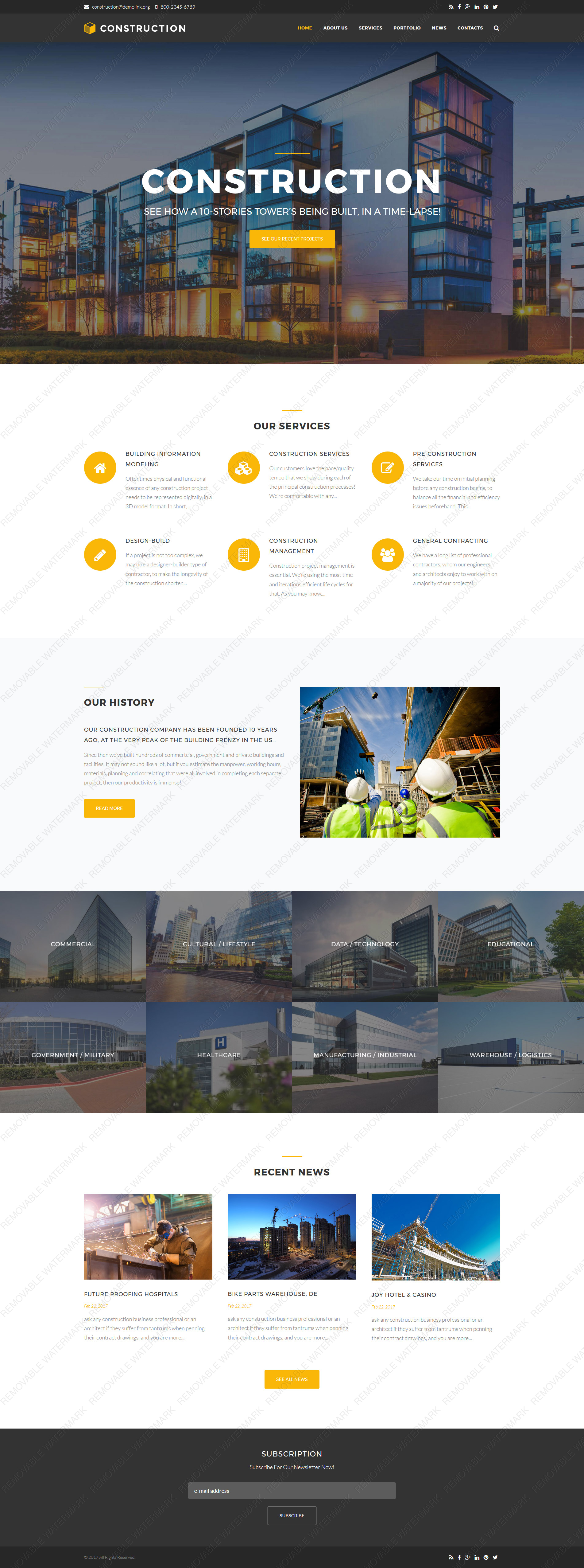 Custom Website Design Template #62481 -  construction house repair renovation roofing electrician