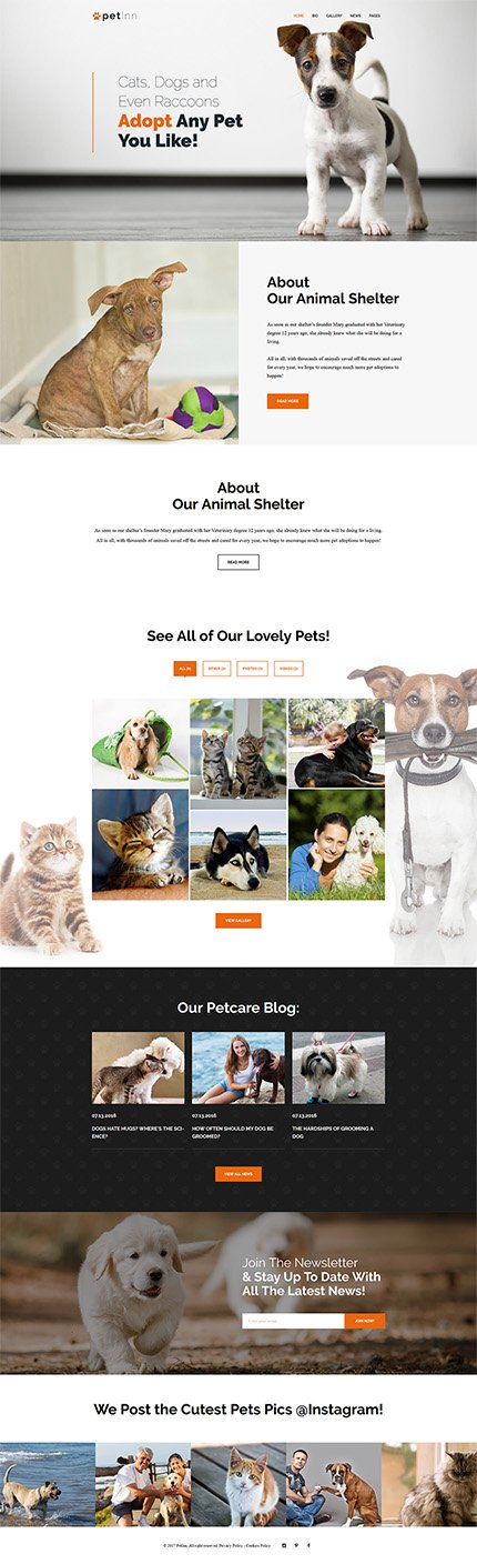 Custom Website Design Template #62483 -  mercy animal foundation care pets store