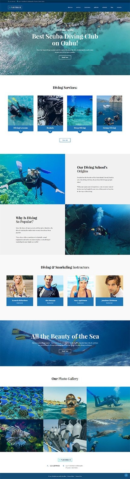 Custom Website Design Template #62484 -  diving club member water sea ocean