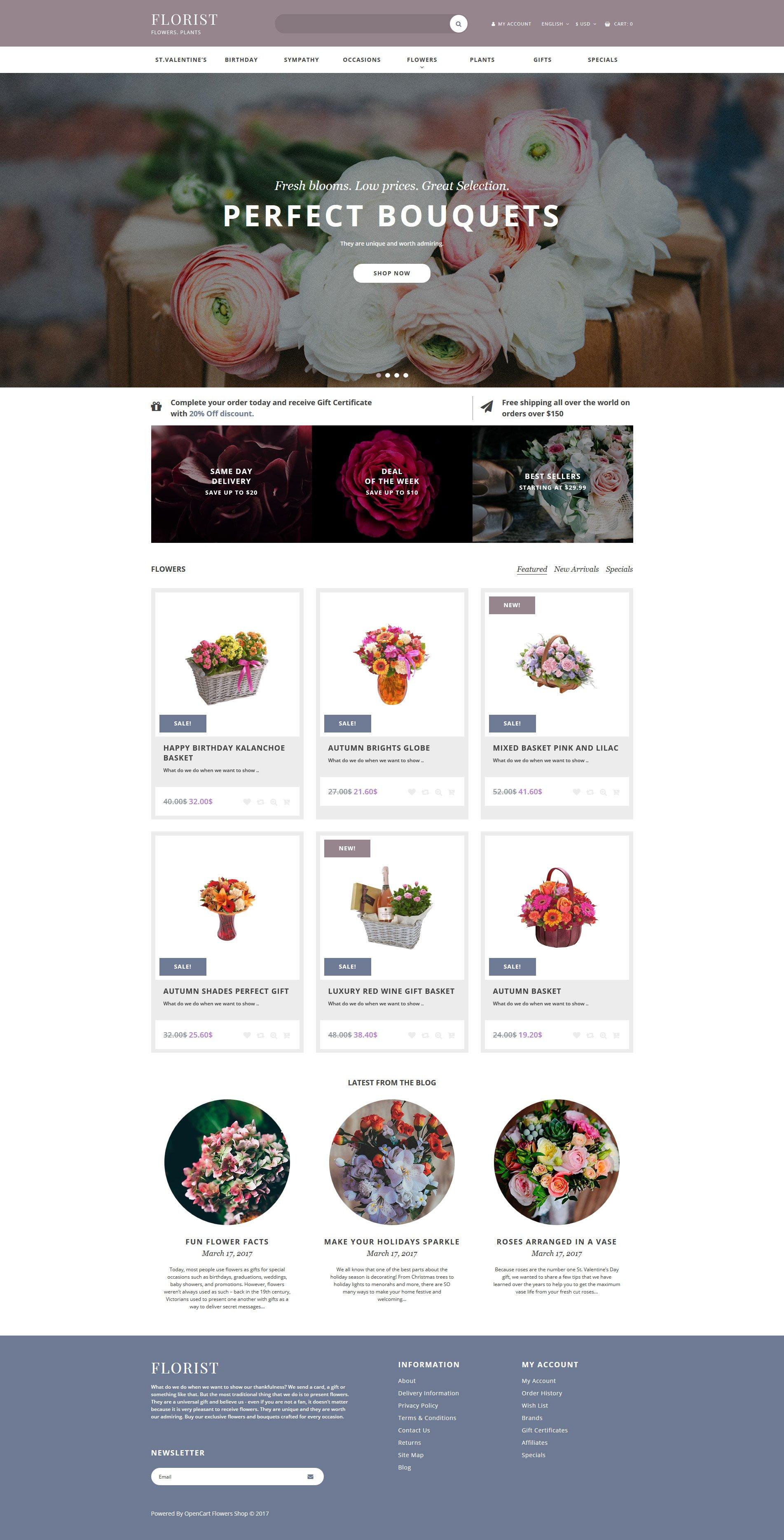 Адаптивный OpenCart шаблон №62465 на тему цветочный магазин - скриншот
