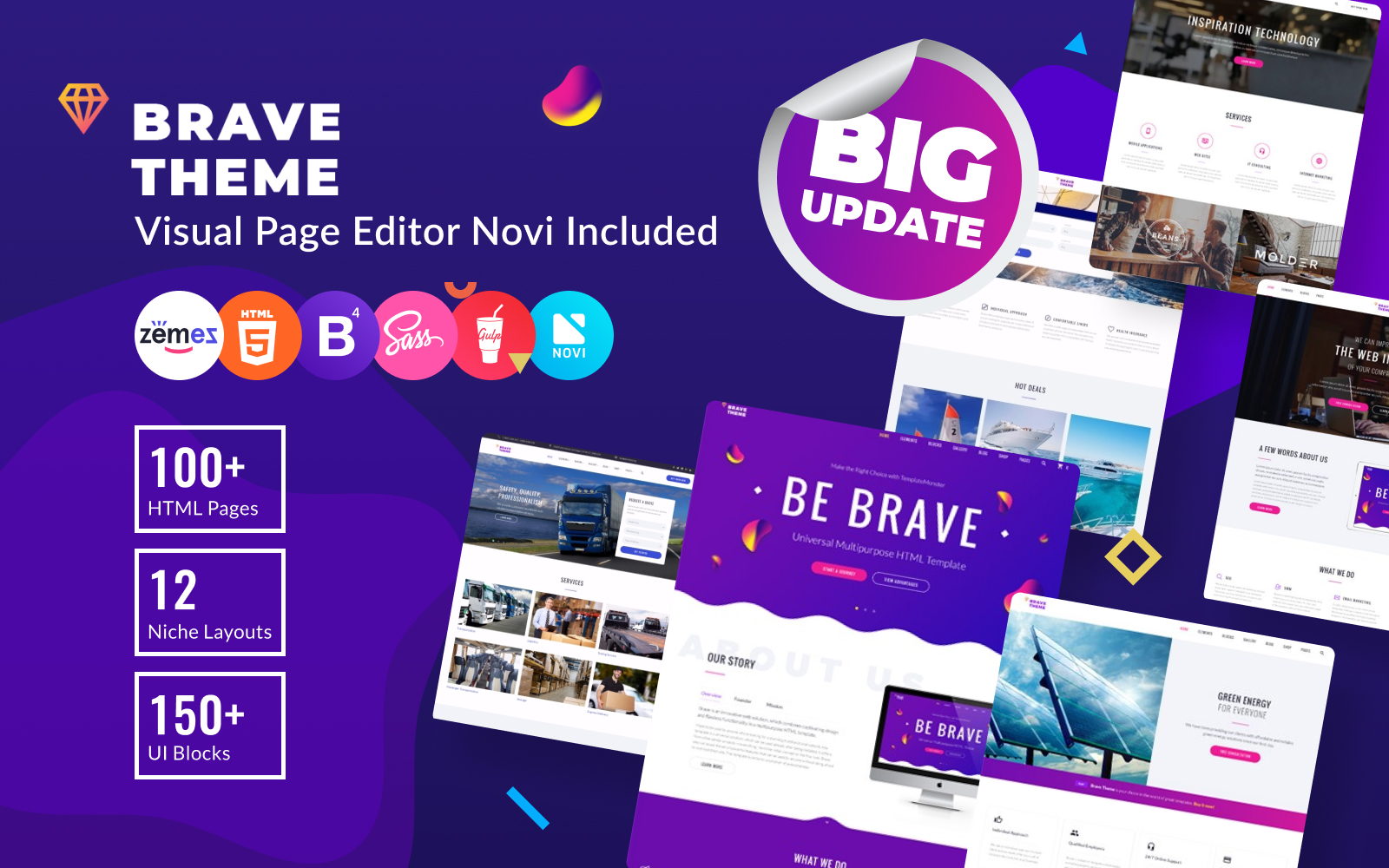 Brave Theme - Multifunctionele HTML-websitesjabloon