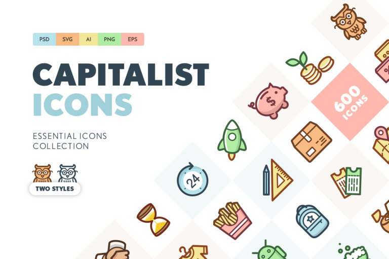 Capitalist Flat Icons Collection Iconset Template New Screenshots BIG