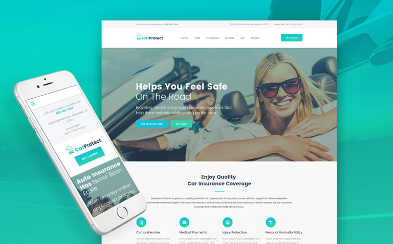Car Protect - Auto Insurance WordPress Theme New Screenshots BIG