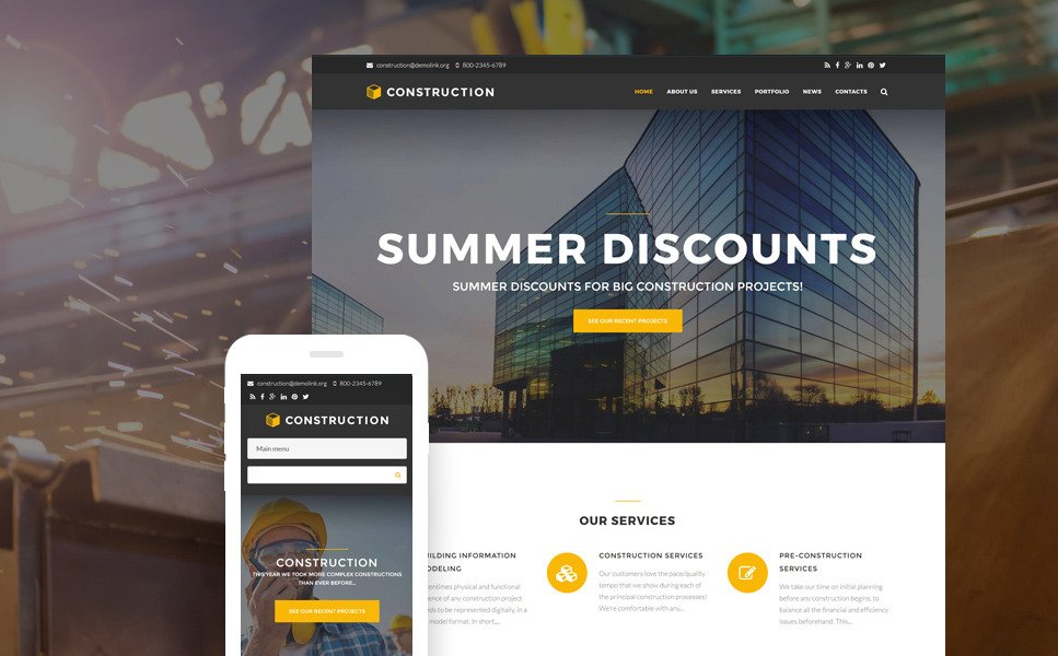 Construction Company Premium Drupal Template New Screenshots BIG