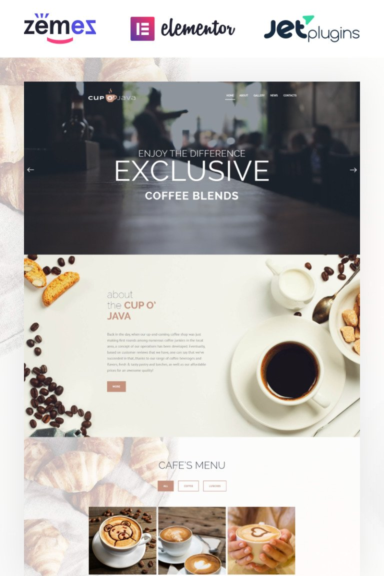 Cup o' Java - Coffee Shop Responsive WordPress Theme New Screenshots BIG