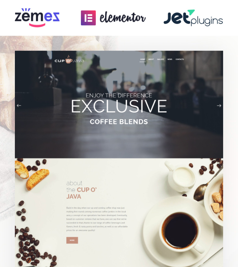 Cup o' Java - Coffee Shop Responsive WordPress Theme