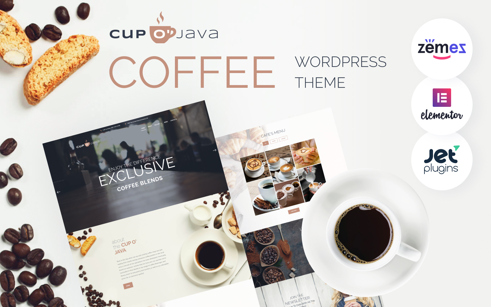 """Cup o' Java - Coffee Shop Responsive"" 响应式WordPress模板 #62476"