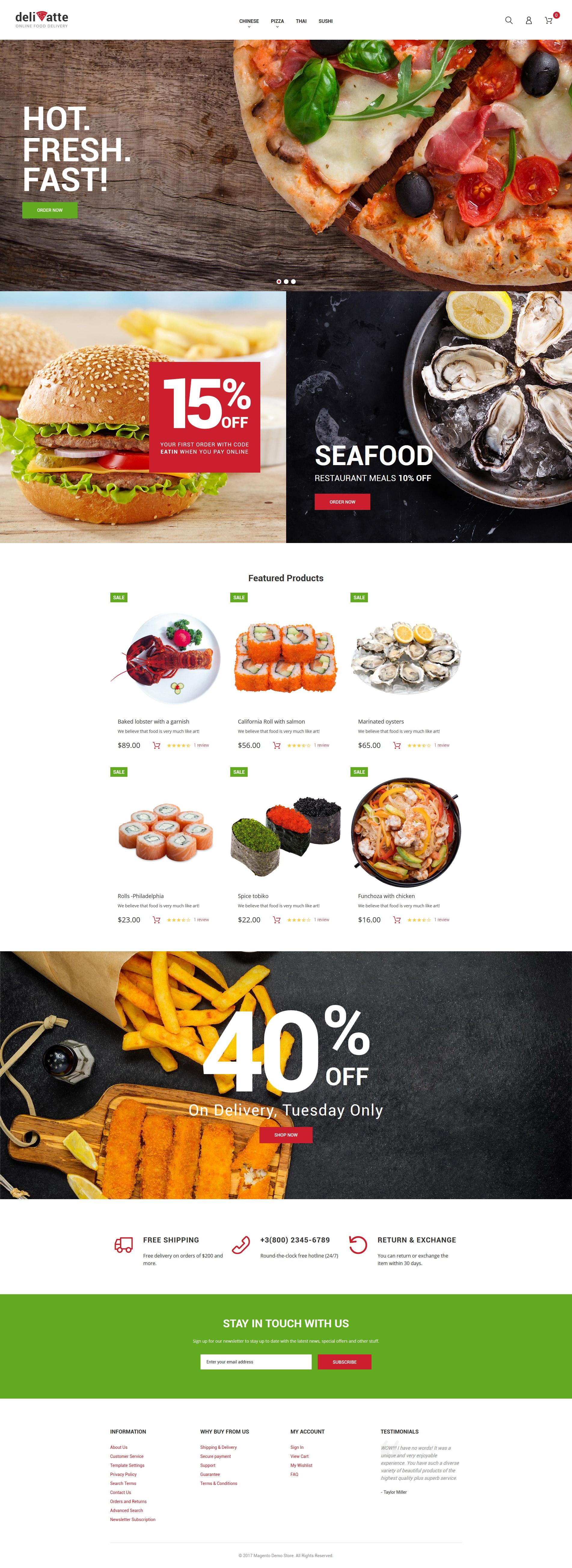 """""""Deliatte - Livraison de nourriture à domicile et à emporter"""" thème Magento adaptatif #62477"""