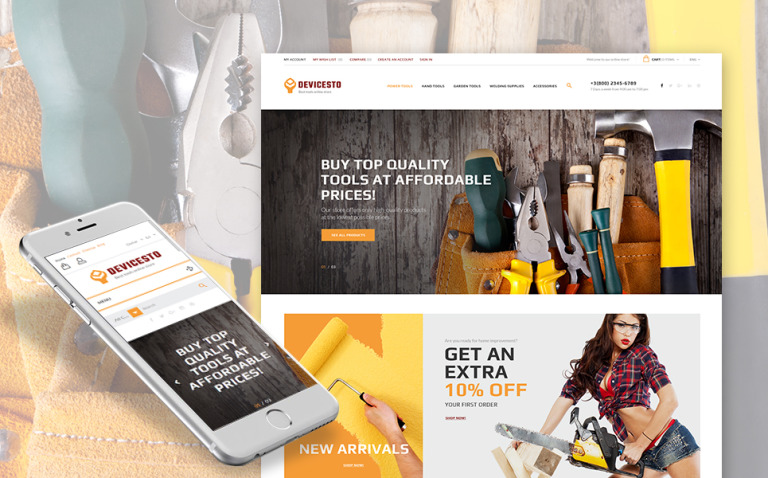 Devicesto - Tools and Supplies Store PrestaShop Theme New Screenshots BIG