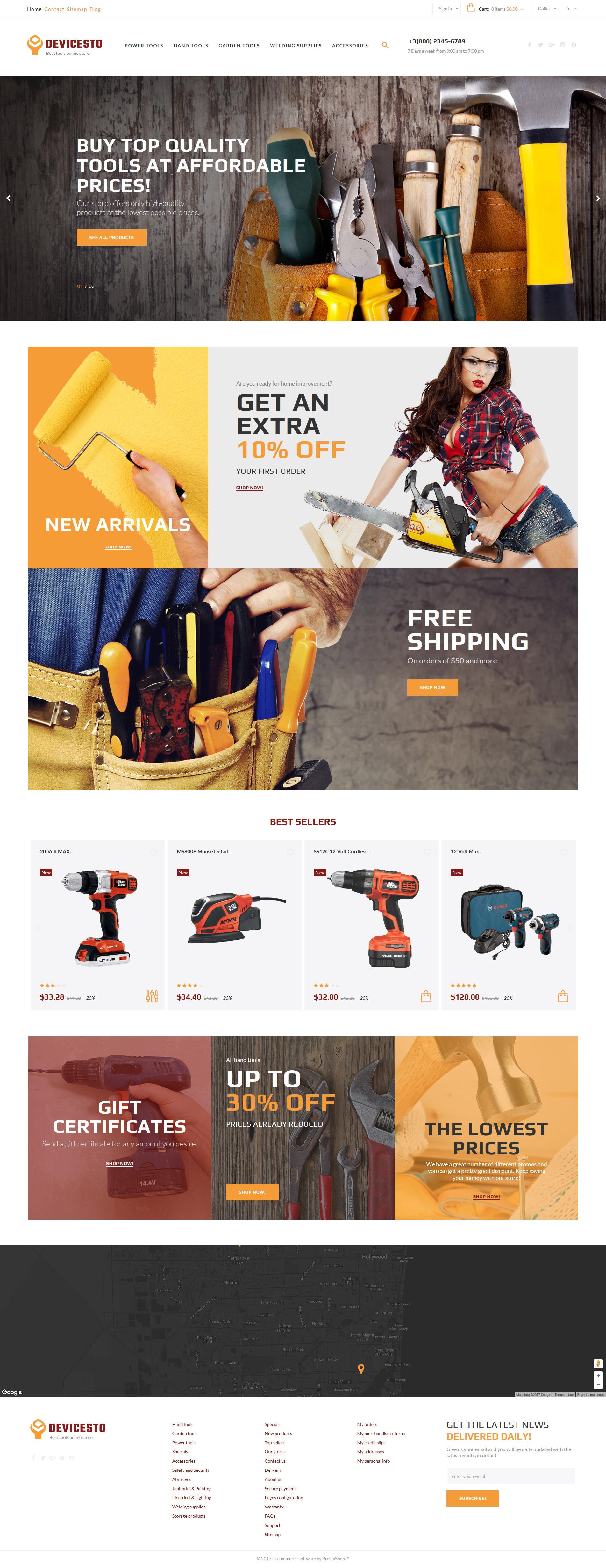 Devicesto - Tools and Supplies Store PrestaShop Theme - screenshot