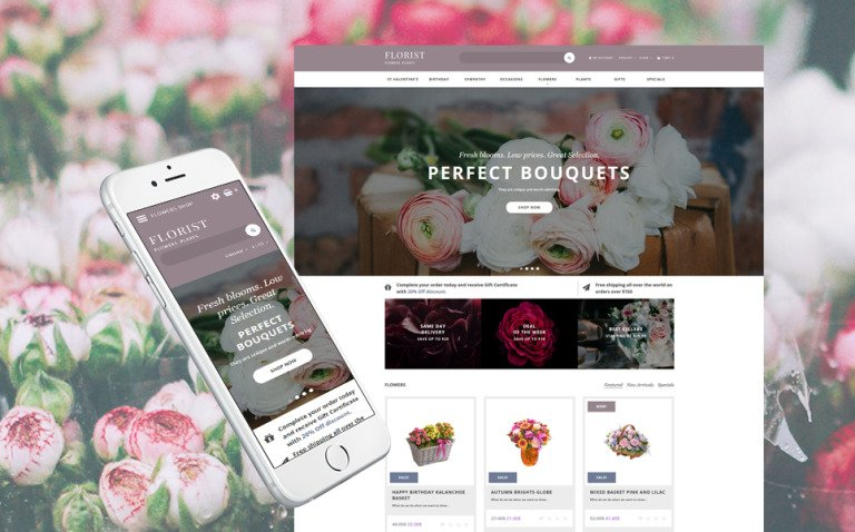 Flower Shop Responsive OpenCart Template New Screenshots BIG