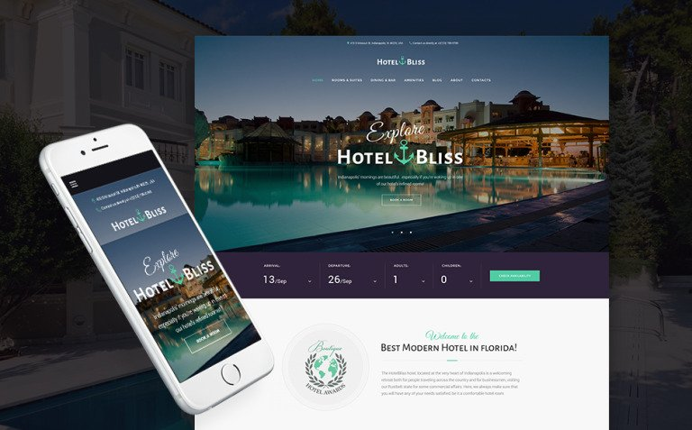 HotelBliss - Spa & Resort Hotel WordPress Theme Big Screenshot