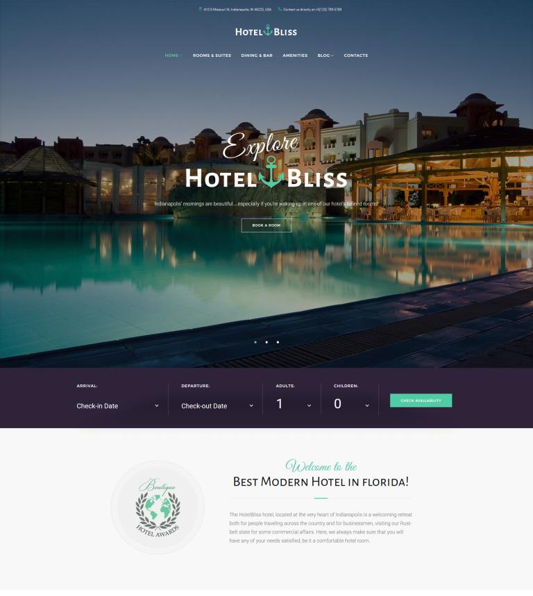 b3952c7a1af498 HotelBliss - Spa   Resort Hotel WordPress Theme Big Screenshot